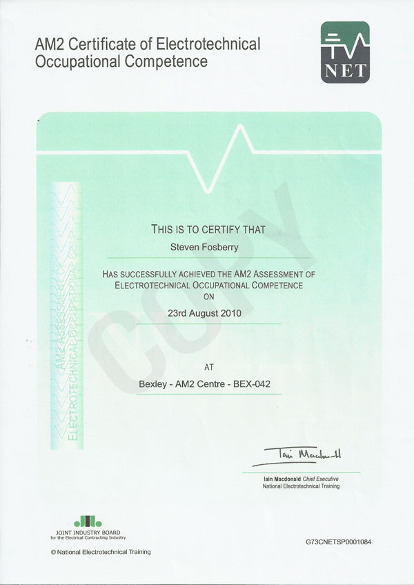 Am2 Cert Of Electrootech Occ Competence 28 08 2010 Saf